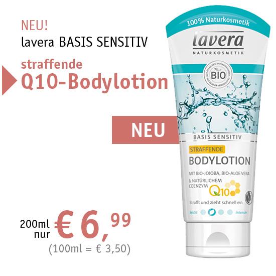 NEU! lavera BASIS SENSITIV straffende Q10-Bodylotion - 200ml nur € 6,99