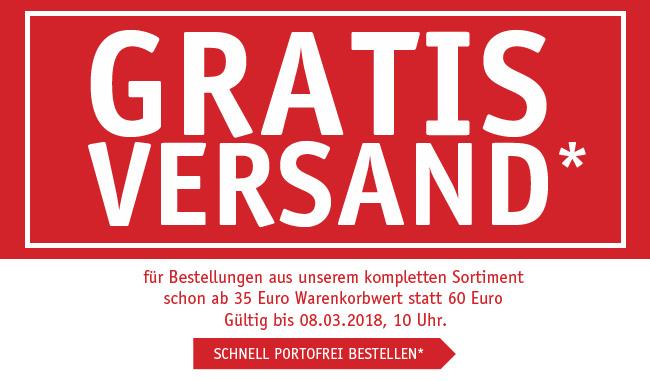 Gratis Versand schon ab 35 Euro Warenkorbwert statt 60 Euro - gültig bis 08.03.2018, 10 Uhr