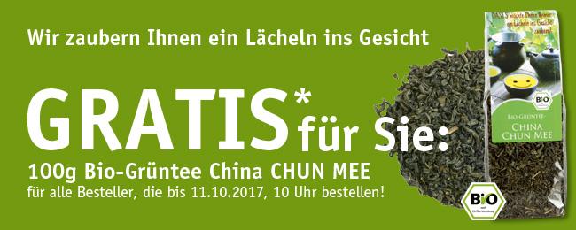 GRATIS für Sie: 100g Bio-Grüntee China CHUN MEE bei Bestellung bis 11.10.2017, 10 Uhr