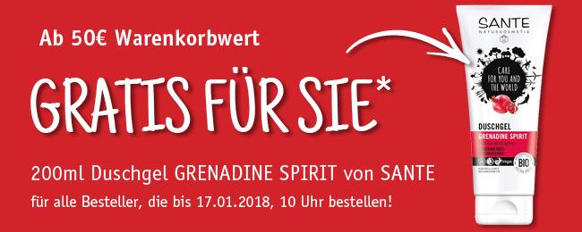 Ab 50€ Warenkorbwert schenken wir Ihnen 200ml Duschgel GRENADINE SPIRIT von SANTE - gültig bis 17.01.2018, 10 Uhr