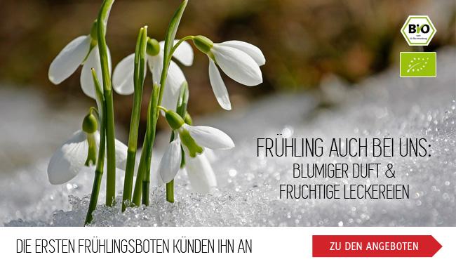 Die ersten Frühlingsboten künden ihn an - Frühling auch bei uns: blumiger Duft und fruchtige Leckereien - zu den Angeboten