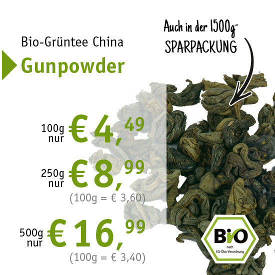 Bio-Grüntee China Gunpowder - ab € 4,49