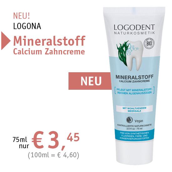 NEU! LOGONA Mineralstoff Calcium Zahncreme/Zahnpasta - 75ml nur € 3,45