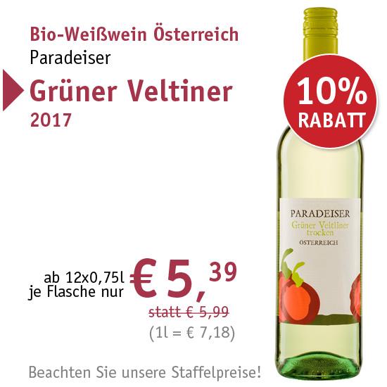 Bio-Weißwein Österreich Paradeiser Grüner Veltiner 2017 - 95374 - ab € 5,39 mit 10% Rabatt